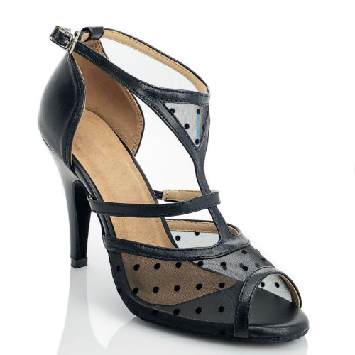 Seelay - Open Toe Black T-Strap with Polka Dot Mesh - Custom Made To Order - CB1895