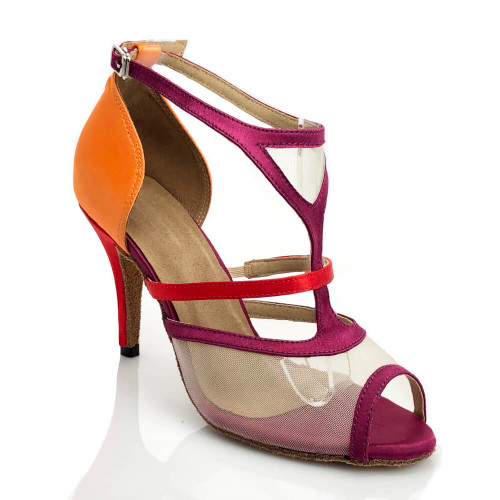 Allegra - Open Toe Multi Color T-Strap with Nude Mesh - Custom Made To Order - CB1895.2