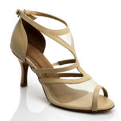 Bliss - Open Toe Beige T-Strap with Nude Mesh - Custom Made To Order - CB1895.3