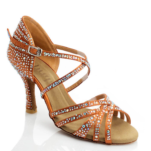 Christalina - Nude Strappy Crystal Performance Shoes with Suede Sole and 3.5 inch Flared Heel