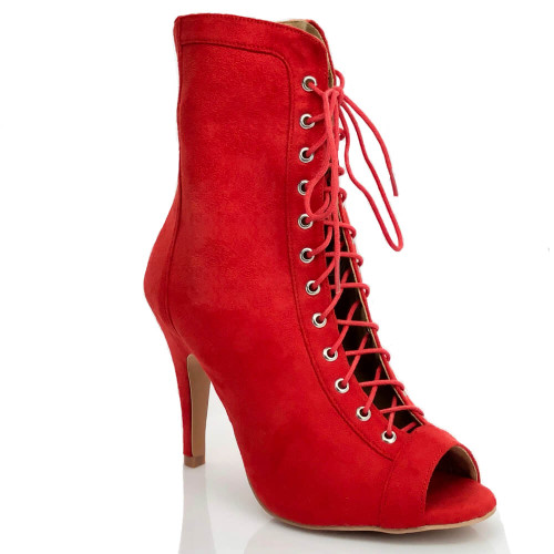 Sierralynn red or black vegan suede lace up open toe stiletto heel ankle boot