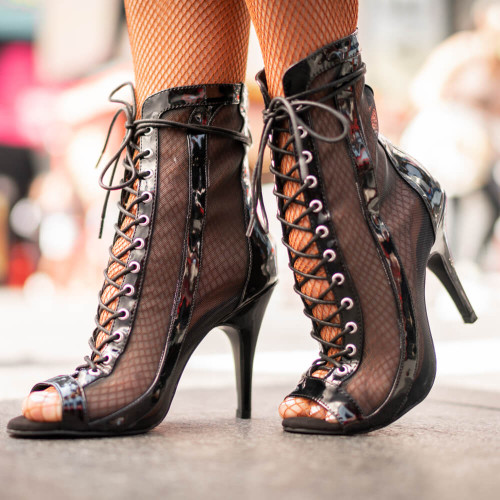 Sierra - Open Toe Lace Up Shiny Bootie With Mesh 3.5 or 4 inch Stiletto Heel - B1889