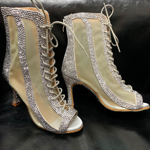 Crystal Sierra -  Crystal Embellished Open Toe Lace Up Shiny Bootie With Mesh - Custom Made to Order - CB1889CRY