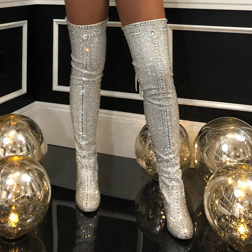 Crystal Xeena - Crystal Embellished Closed Toe High Heel Thigh High Boot - Custom Made to Order