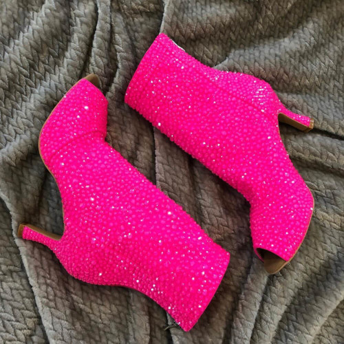 Crystal Shabina - Crystal Embellished Open Toe High Heel Ankle Boot - Custom made to Order