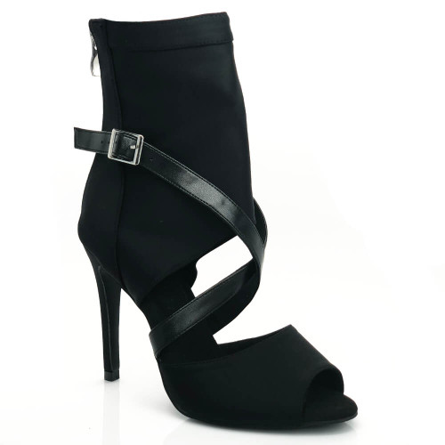Sabeena - Open Toe Stretch Lycra Crossing Strap Black Bootie - Custom Made To Order - CB1992