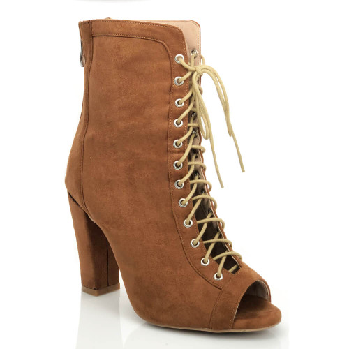 Silesi - Vegan Suede Lace Up Chunky Heel Ankle Boot - CBC1911