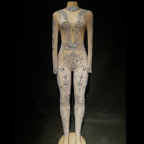Divine Wine - Crystal Embellished Nude Mesh Stretch Body Suit - BU1