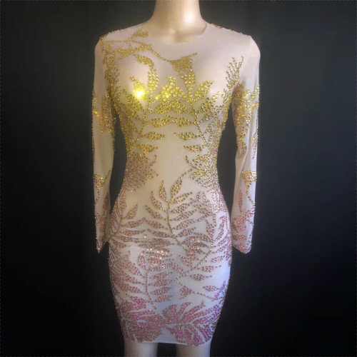 """Don't """"Leaf"""" the Party Early  - Crystal Embellished Party Dress - BU11"""