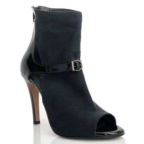 Trixzee black open toe high heel ankle boot with cut outs