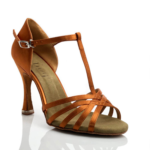 Loretta - Nude T-strap Suede Sole Latin Dance Shoe - 3.75 inch Flared Heels