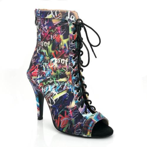 Sierralynn - Graffiti Print Lace Up Open Toe Stiletto Heel Ankle Boot