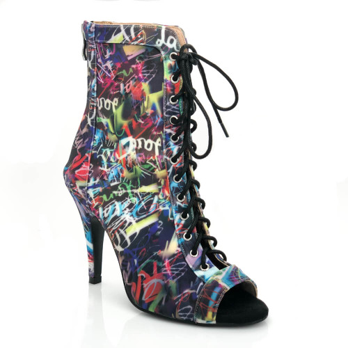 Sierralynn - Graffiti Print Lace Up Open Toe Stiletto Heel Ankle Boot