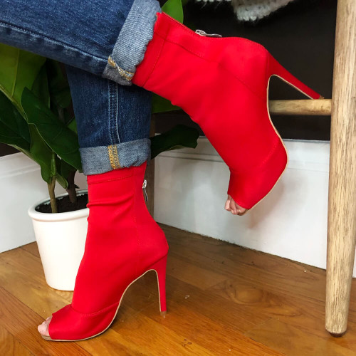 Shabina red stretch lycra zip up sock boot with stiletto heel