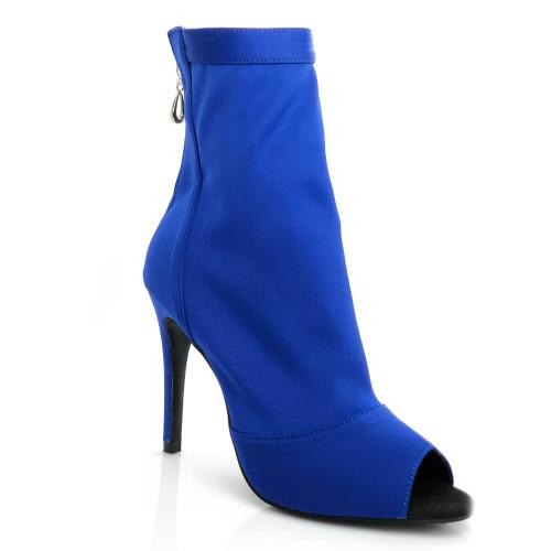 Shabina blue stretch lycra zip up sock boot with stiletto heel