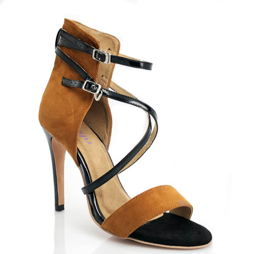 Desnudate nude and black high back crossing strap open toe sandal.