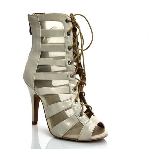 Tempest nude open toe mesh cut out lace up ankle boot