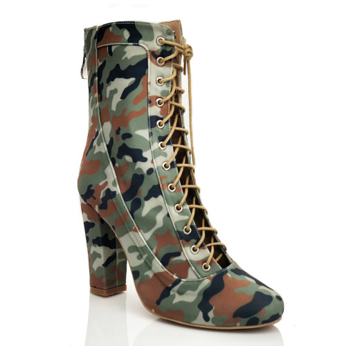 Savashjay camo print closed toe chunky heel lace up ankle bootie
