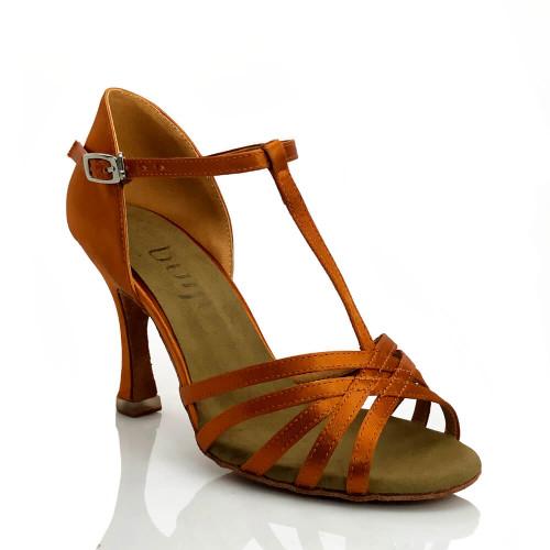 Loretta - Nude T-strap Suede Sole Latin Dance Shoe - 3.5 inch Flared Heels