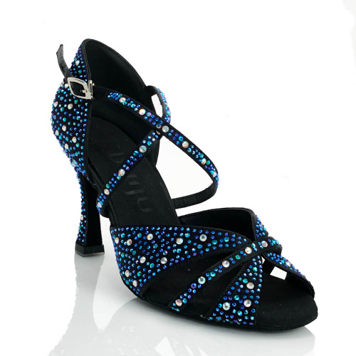 Jema black and blue crystal embellished strappy latin ballroom dance shoe 3.5 inch heel