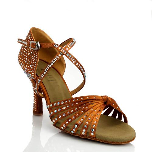 Joya dark tan satin strappy ballroom latin dance shoe with crystals and 3.5 inch flared heel