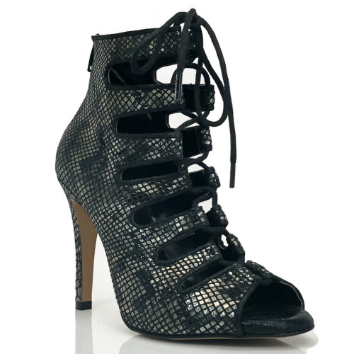 Luciana - 4 Inch Lace Up Metallic Black Snake Print Open Toe Bootie