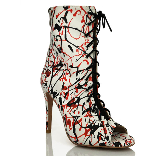 Sofiya - Made to Order - Open Toe Cut Out Bootie - White Paint Splash