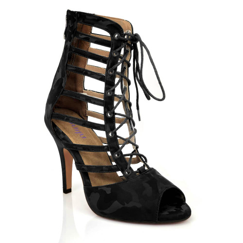 Kiesha black strappy high heel lace up ankle boot