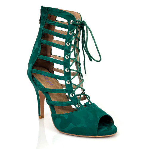 Keisha - Green Camo Strappy Open Toe Lace Up Ankle Boot
