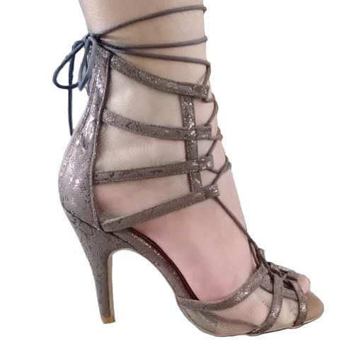Maleeya - Grey Metallic Reptile Strappy Mesh Cut Out Lace Up Sandal