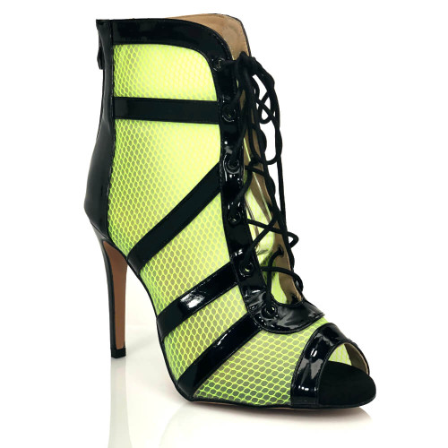 Addison neon green black patent lace up sporty dance heel
