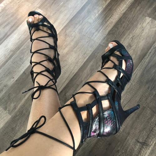 Maddox - Sexy Lace Up Black Cut Out Dress Sandal Heel