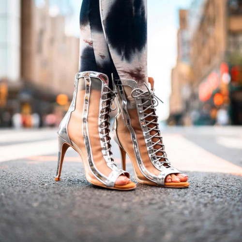 Sierra - Made to Order - Silver Open Toe Lace Up Shiny Bootie With Mesh
