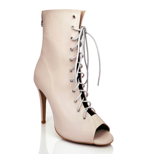 Burju true nude light nude shade lace up ankle boot.