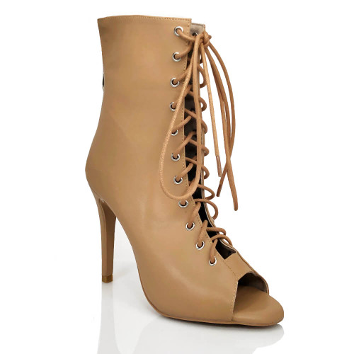Sofiya Nude - Made to Order - Open Toe Cut Out Bootie - True Nude Shade Three
