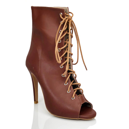 Burju dark nude lace up ankle boot.