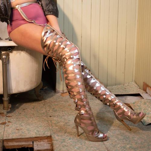 Gladysse-gladiator-thigh-high-garter-belt-boot-gold-1