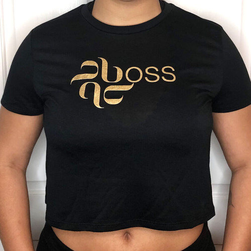 Burju Boss Flowy Crop Tee - Black