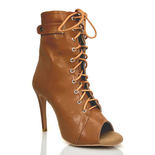 Moment - By Kiira Harper - Open Toe Lace Up Bootie - 3.5, 4, 4.2 Stiletto Heel - Cinnamon