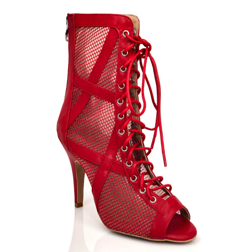 Xiomara red criss cross fishnet mesh lace up ankle dance boot