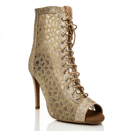 Rizzo  - Gold Leopard, 3.5 or 4 inch Stiletto Heel, Open Toe Lace Up Bootie with Mesh