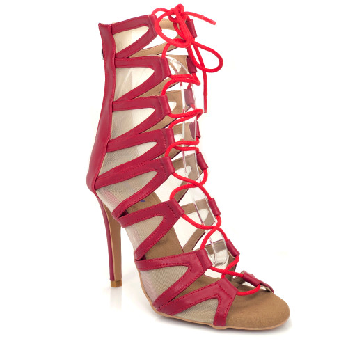 Vikky red cut out mesh open toe lace up bootie