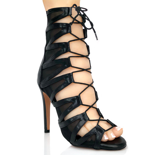 black cut out mesh lace up open toe boot