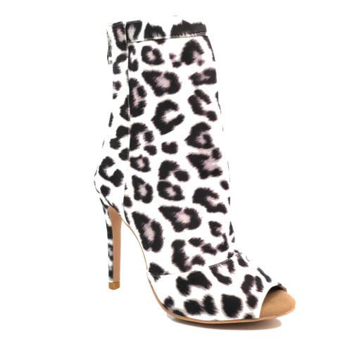 shabina snow leopard stretch lycra heels dance stiletto boot
