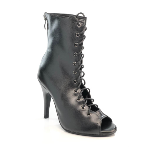 oliviya black vegan leather lace up stiletto ankle bootie dance boot