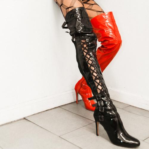 Nicole Kirkland closed toe vegan thigh high for heels class