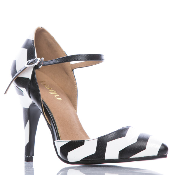 Charlotte - Black and White Closed Toe Stiletto Pump - 4 inch Heels