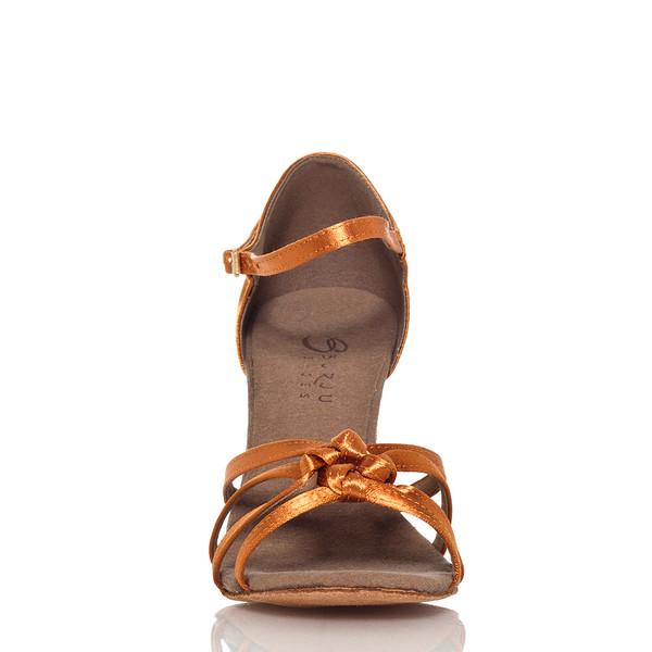 Leyla - Nude Strappy Knot Dance Shoe - 2.5 inch Slim Heels