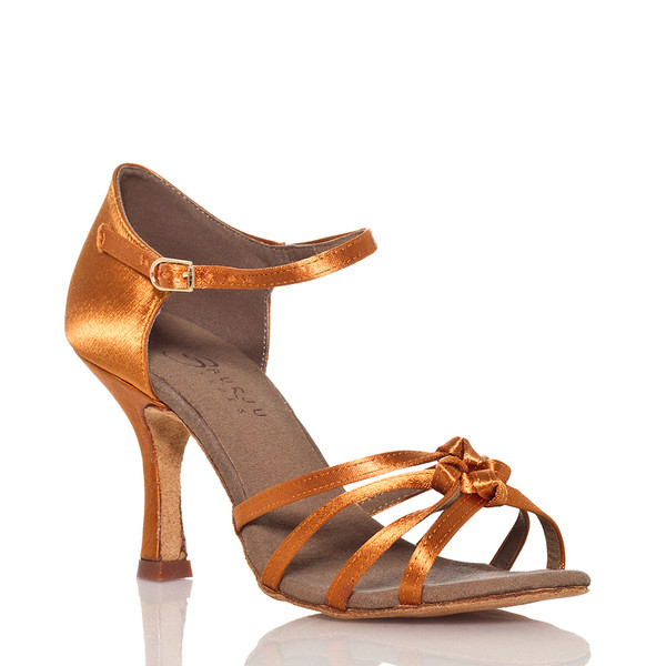 Leyla - Nude Strappy Knot Dance Shoe - 3.5 inch Flared Heels