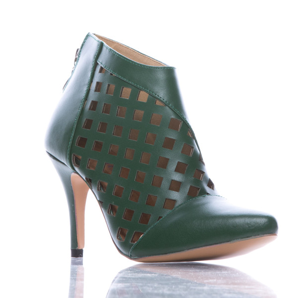 Melissa Mitro - Dark Green Pointed Toe Cutout Stiletto Bootie - 3.5 inch Heels